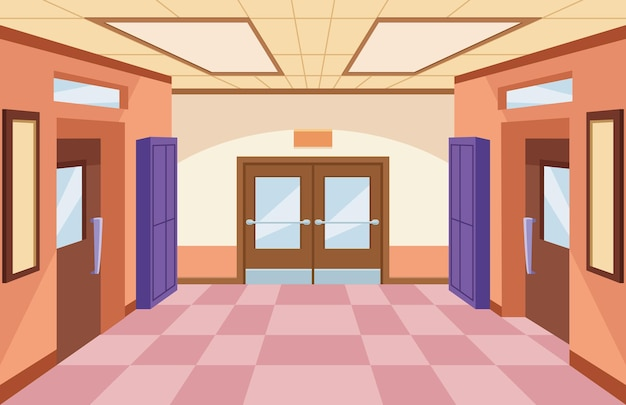 School corridor scene illustration
