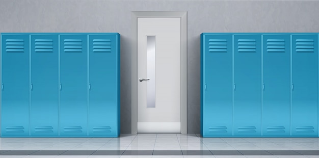 Школьный коридор с синими шкафчиками и закрытой дверью