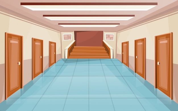 School corridor with doors and stair. university interior. hallway in college or office building.