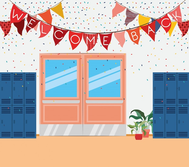 School corridor with lockers scene