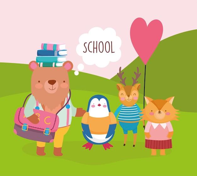 School cute cartoon animals