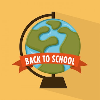 オレンジ色の背景上の学校デザインベクトルイラスト Premiumベクター