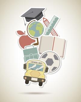 School design over vintage background vector illustration