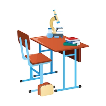 School desk with textbook, school microscope and scientific flask