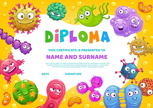 School diploma  certificate with funny germs