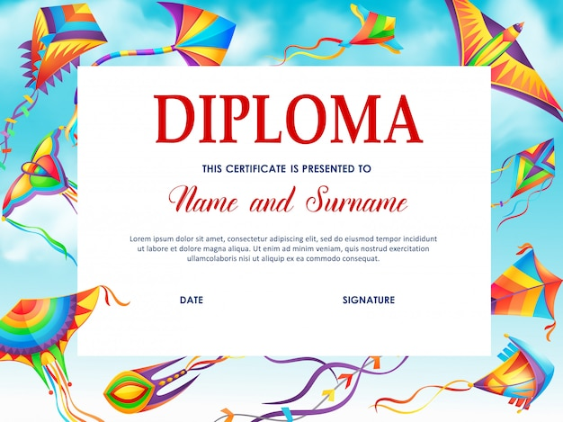 School diploma vector template with cartoon kites