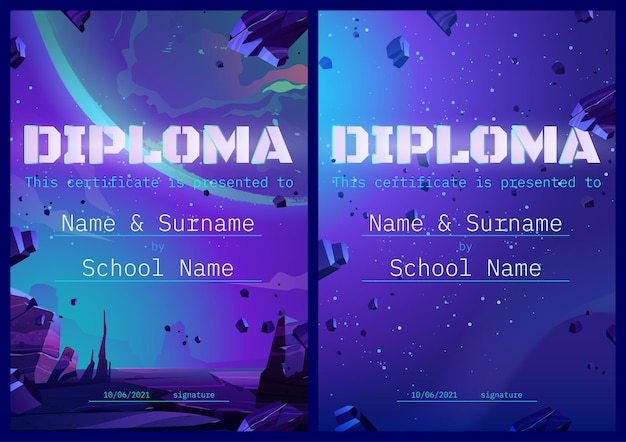 School diploma with alien planet in space design