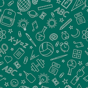 School doodle pattern. vector illustration on a green background.