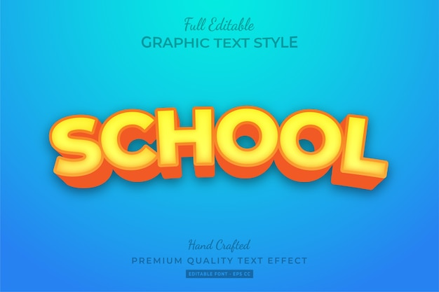 School editable 3d text style effect