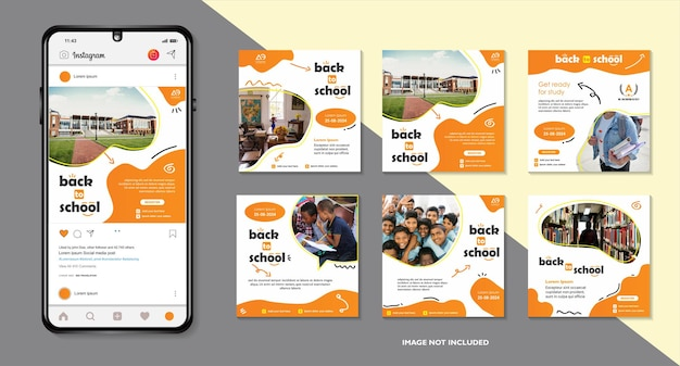School education admission social media post and back to school web banner template or square flyer
