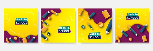 School education admission social media post and back to school web banner template