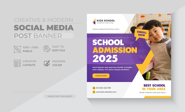 School education admission social media post banner  web banner