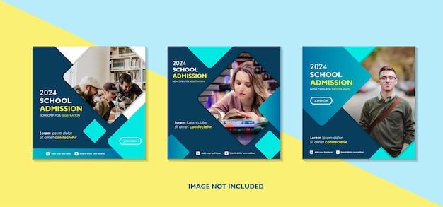 学校教育入学ソーシャルメディアの投稿テンプレート