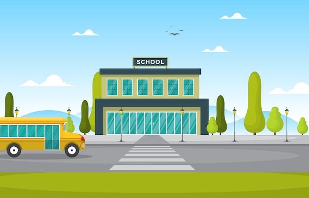 学校教育建物バス屋外風景漫画イラスト