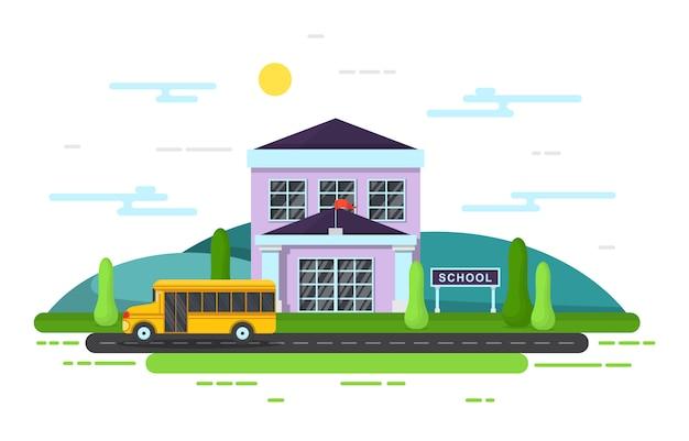 학교 교육 빌딩 버스 야외 풍경 만화 일러스트 레이션