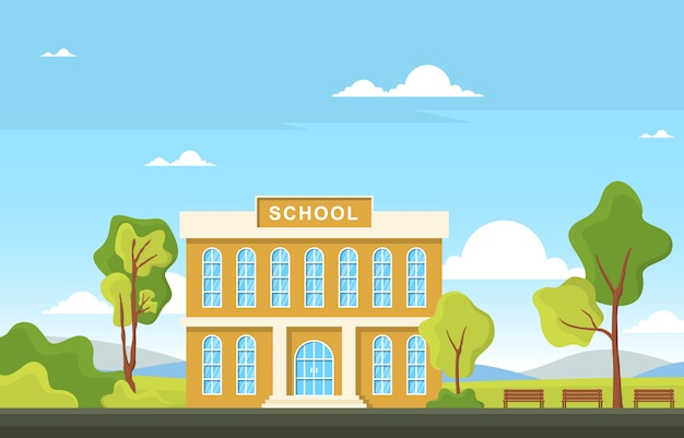 School education building street outdoor landscape cartoon illustration