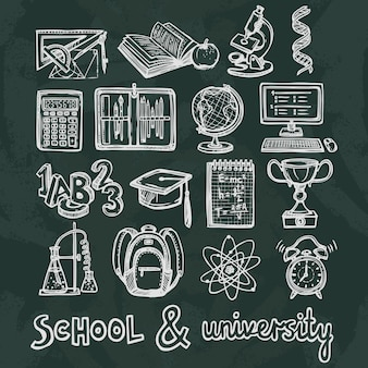School education chalkboard elements