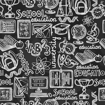 School education chalkboard seamless pattern