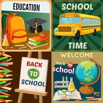 School education compositions with art supplies yellow bus academic disciplines backpack textbooks and stationery isolated vector illustration