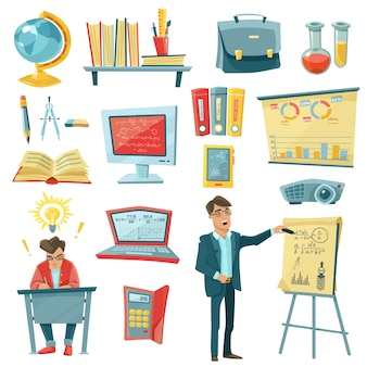 School education decorative icons set