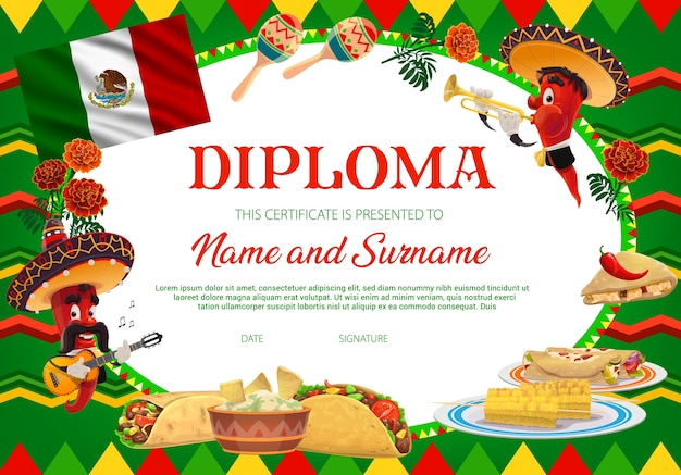 School education diploma,  chilli peppers in sombrero playing guitar and trumpet, marigold flowers, mexican food, maracas and flag. school or kindergarten certificate, cartoon frame template