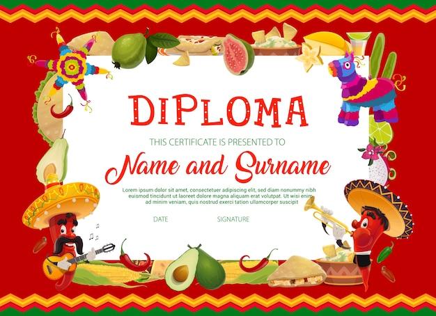 Шаблон диплома о школьном образовании с мультфильмом синко де майо праздники перец чили в сомбреро играет на гитаре и трубе, фрукты, кукуруза, мексиканская еда и пиньята. школьный аттестат или рамка