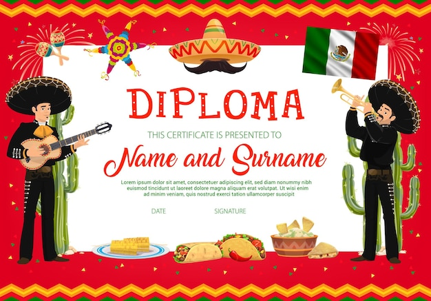 School education diploma template with cartoon cinco
