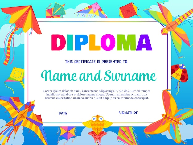 School education diploma template with cartoon kites flying in blue cloudy sky.