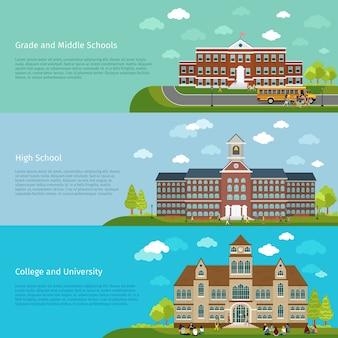 Баннеры школьного образования, средней школы и университета. студент и кампус, выпускной и архитектурно-строительный корпус,