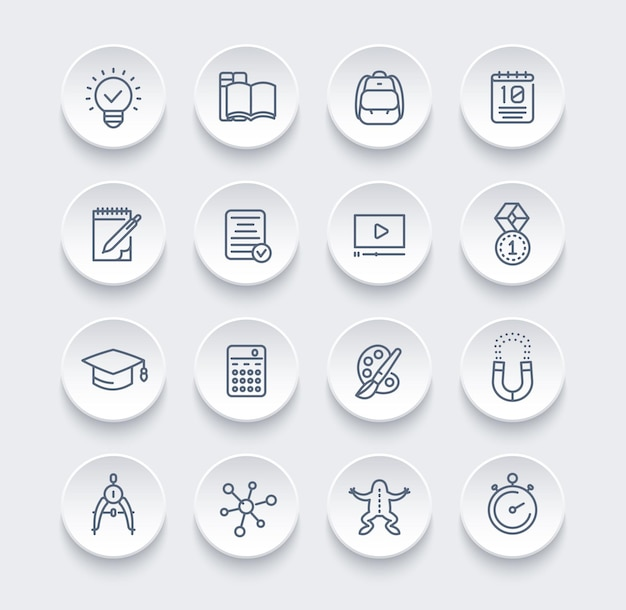 School, education, learning line icons set