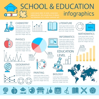 School education linear infographics