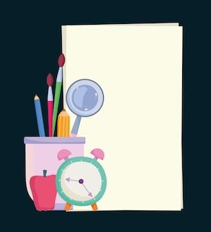 Бумажный будильник школьного образования с яблоком и карандашами