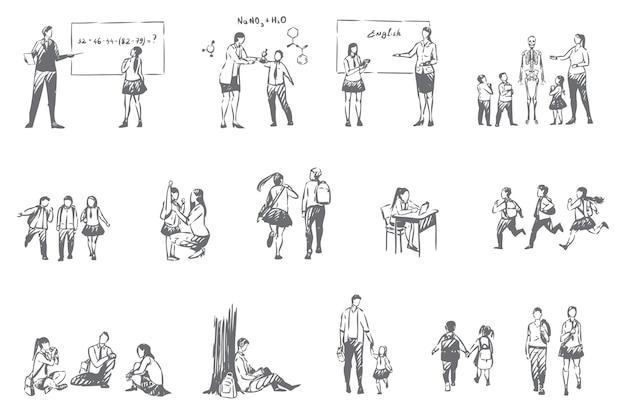 Иллюстрация набора рутинного школьного образования