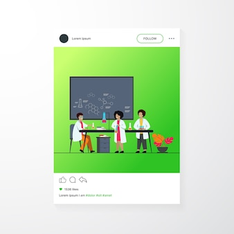 School education and science concept. teacher watching children doing practical chemical experiment in lab, using glass tubes and chalkboard