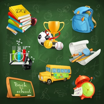 School and education, vector clipart set