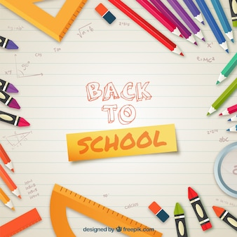 School elements background in flat style
