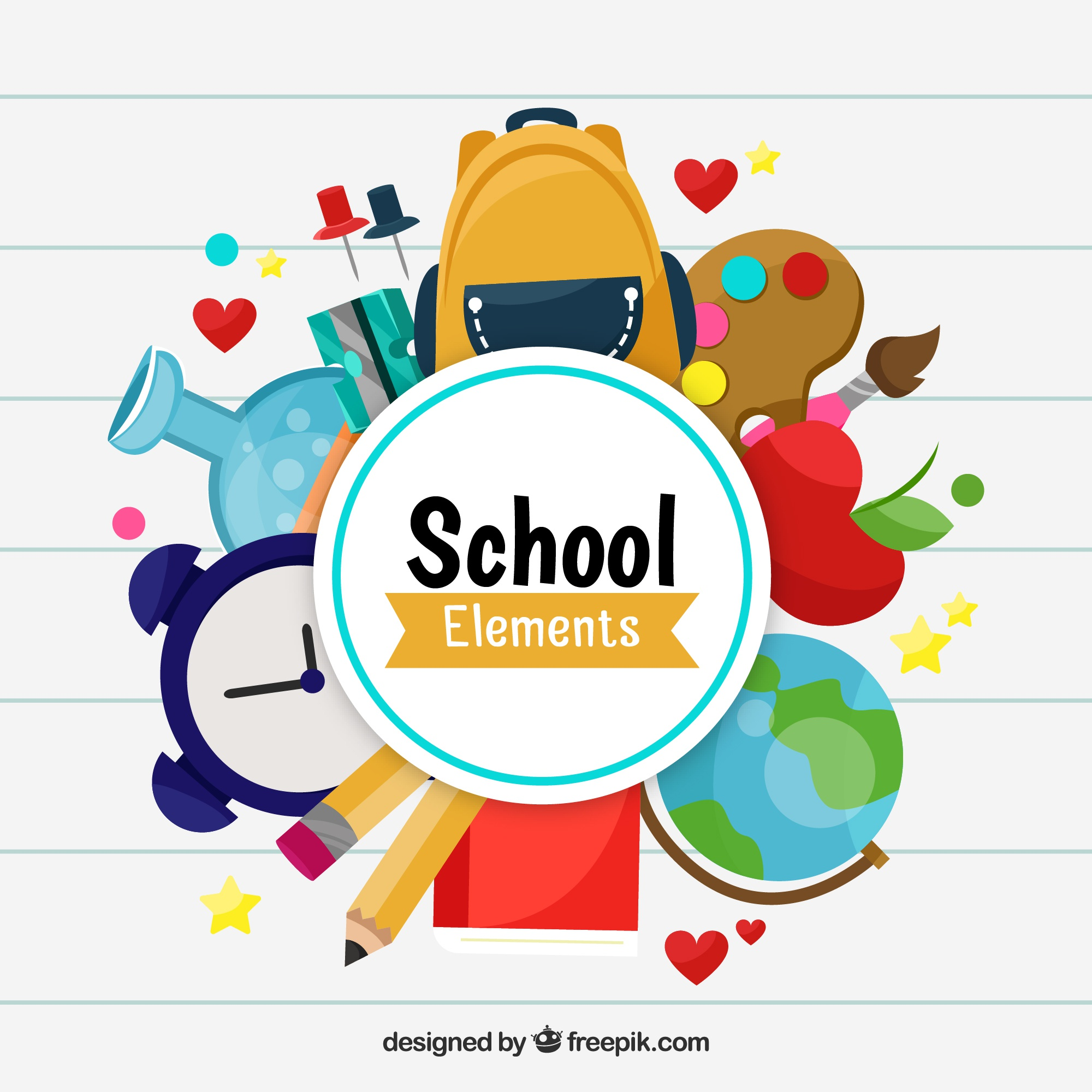 School elements background with education supplies