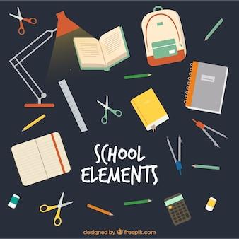Sfondo di elementi di scuola con forniture di educazione