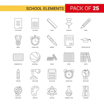 School elements black line icon