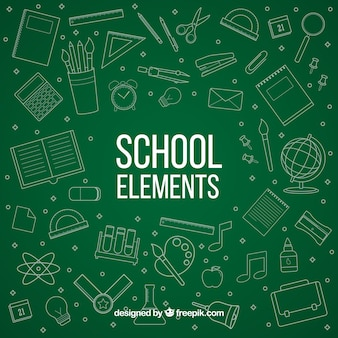 School elements in chalkboard style
