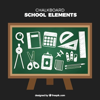 School elements collection in chalk style