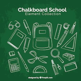 School elements collection in chalkboard style