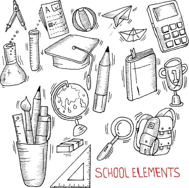 Школьные элементы doodle
