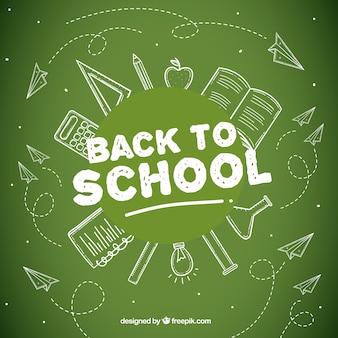 School elements drawn on the blackboard