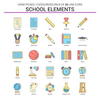 School elements flat line icon set