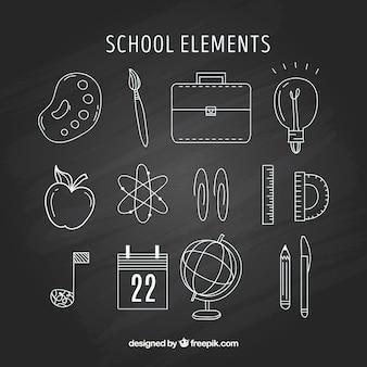 School elements in chalk style