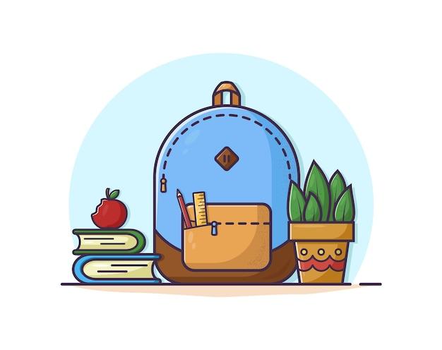 フラットスタイルの学校の要素。バックパック、鉛筆、本。ベクトルイラスト。