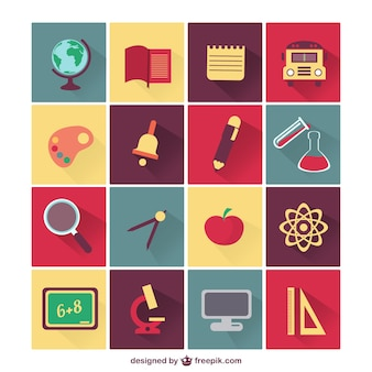 School elements and subjects icons set Free Vector