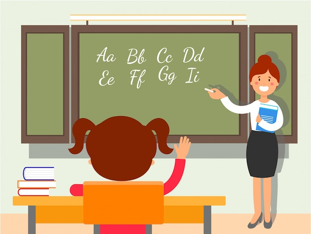 School english language lesson flat illustration