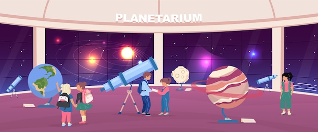 School excursion to planetarium flat color . kids look at educational planet exhibits. children 2d cartoon characters with panoramic night sky installation on background